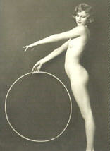Naked woman holding hoop, being deeply symbolic